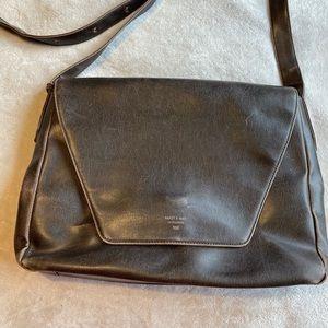 Matt&nat brown vegan leather strap laptop bag.